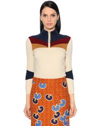 Stella Jean - High Collar Knit & Chenille Jumper - Lyst