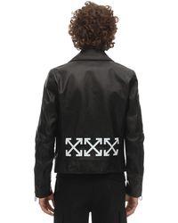 Off-White c/o Virgil Abloh Bikerjacke Aus Leder Mit Logodruck - Schwarz