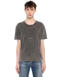 Saint Laurent | T-shirt In Jersey Di Cotone Lavato | Lyst