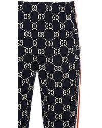 Gucci Leggings Aus Baumwolljacquard Mit Gg-supreme-logo - Blau