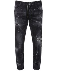 DSquared² Jeans Skater In Denim Di Cotone Con Zip 16cm - Nero
