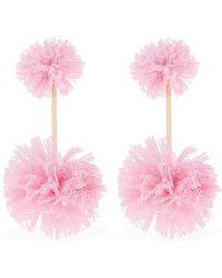 Tuleste - Lace Double Pom Pom Earrings - Lyst