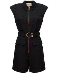 Gucci ベルテッドコットンジャンプスーツ - ブラック