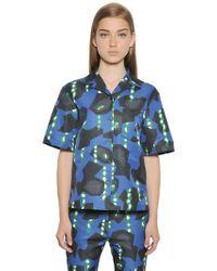 Jil Sander Navy - Printed Cotton Blend Ottoman Shirt - Lyst