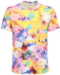 Comme des Garçons T-shirt Aus Baumwolle Mit Graffitidruck - Blau