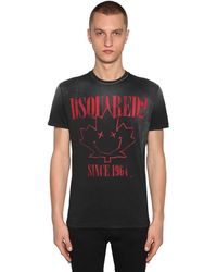 DSquared² Bedrucktes T-shirt Aus Baumwolljersey - Schwarz