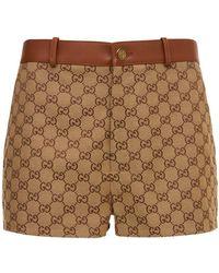 Gucci Minishorts Aus Baumwolle Mit Logo Und Leder - Braun