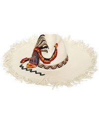 Etro Maasai Fringed Floppy Hat - White