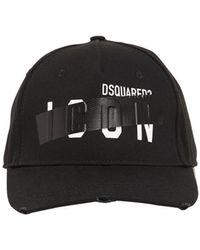 DSquared² Casquette En Gabardine De Coton Avec Ruban Adhésif - Noir