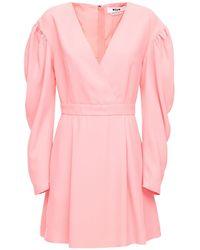 MSGM Короткое Платье Из Креп-кади - Розовый