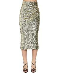 Dolce & Gabbana スパンコールペンシルミディスカート - メタリック