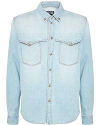Versace Jeans Couture - Denim Shirt W/ Metal Details - Lyst