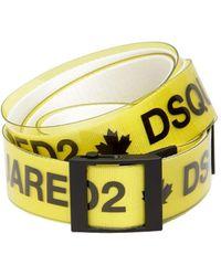 DSquared² 40mm Rubber & Cotton Canvas Logo Belt - Yellow