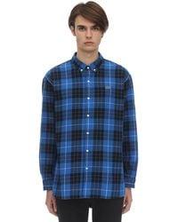 Lacoste コットン チェックシャツ - ブルー