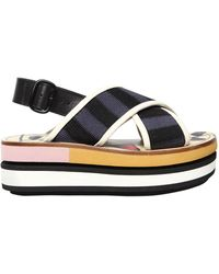 Marni - 80mm Cotton Crossover Wedge Sandals - Lyst