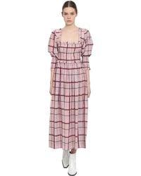 Ganni Checked Cotton-blend Dress - Pink