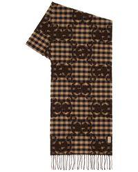 Gucci Шаль С Логотипом Из Смешанной Шерсти - Коричневый