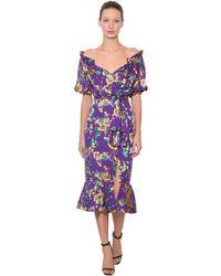 Saloni Olivia Floral Printed Silk Midi Dress - Purple