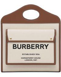 Burberry Medium Tote Aus Leder Und Canvas - Natur
