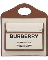 Burberry - Сумка Из Кожи И Канвас С Логотипом - Lyst