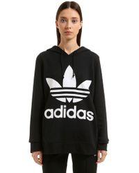 adidas Originals - Logo Hooded French Terry Sweatshirt - Lyst