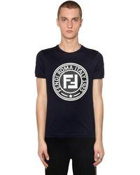 Fendi Camiseta Slim De Jersey Con Parche Logo - Azul