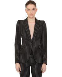 Alexander McQueen - Striped Single Breasted Wool Jacket - Lyst