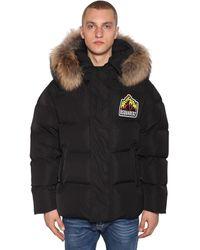 DSquared² Куртка На Пуху С Меховой Оторочкой - Черный