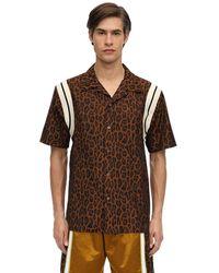 Just Don Leopard コットンボウリングシャツ - ブラウン