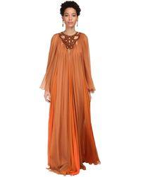 Alberta Ferretti Sheer Silk Chiffon Long Dress - Orange