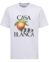CASABLANCA Orange コットンジャージーtシャツ - ホワイト