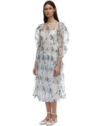 Simone Rocha 刺繍入りオーガンザドレス - ブルー