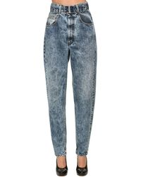 Maison Margiela High Waist Belted Cotton Denim Jeans - Blue