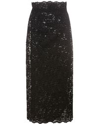 Dolce & Gabbana マクラメレーススカート - ブラック