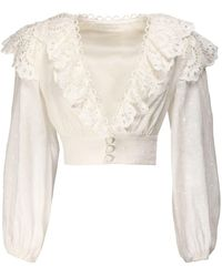 Zimmermann Bellitude Scalloped Linen Shirt - White