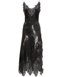 Paco Rabanne Stretch Sequins & Lace Midi Dress - Black