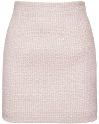 Alessandra Rich ウールブレンドツイードミニスカート - ピンク