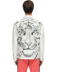 Just Don - Jacke Aus Baumwolldenim Mit Tigerdruck - Lyst