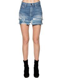 FRAME Cotton Denim Mini Skirt - ブルー