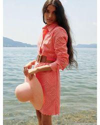 Loro Piana Платье Из Поплин С Вышивкой - Красный