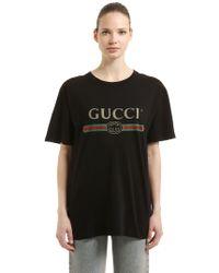2b3a41753 Gucci - T-shirt En Jersey De Coton Avec Logo Vintage - Lyst