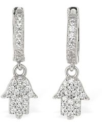 FEDERICA TOSI Mini Hand Charm Hoop Earrings - Mettallic