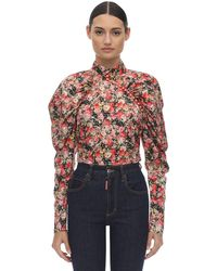 ROTATE BIRGER CHRISTENSEN Floral Printed Top W/puff Sleeves - Rot
