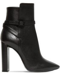 Saint Laurent 105mm Soixante Seize Leather Ankle Boots - Black