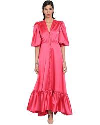 Luisa Beccaria ストレッチフリルサテンドレス - ピンク