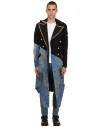 Greg Lauren - 50/50 Wool & Vintage Denim Coat - Lyst
