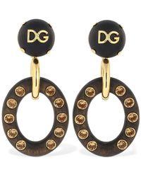 """Dolce & Gabbana Clip-ohrringe Mit Kristallen """"dg"""" - Mettallic"""