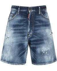 DSquared² Short Boxer En Denim De Coton 36 Cm - Bleu