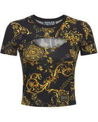 Versace Jeans Couture Bauchfreies T-shirt Aus Baumwolljersey Mit Druck - Schwarz