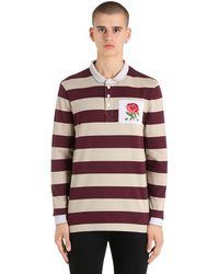 Kent & Curwen Polo Style Rugby En Coton À Rayures Et Patch Rose - Rouge